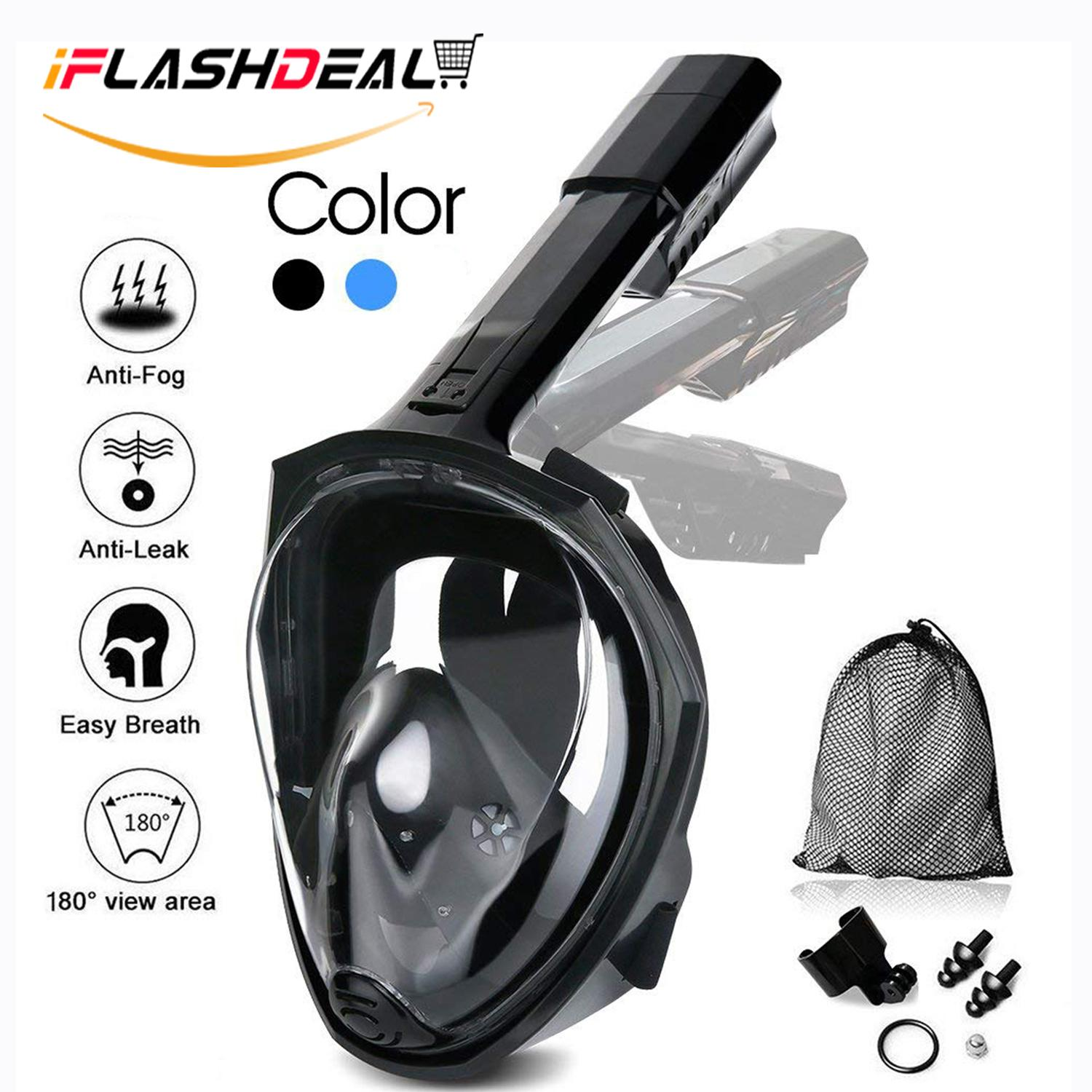 iFlashDeal 180° Full Face Snorkel Mask with Panoramic View Anti-Fog Anti- Leak