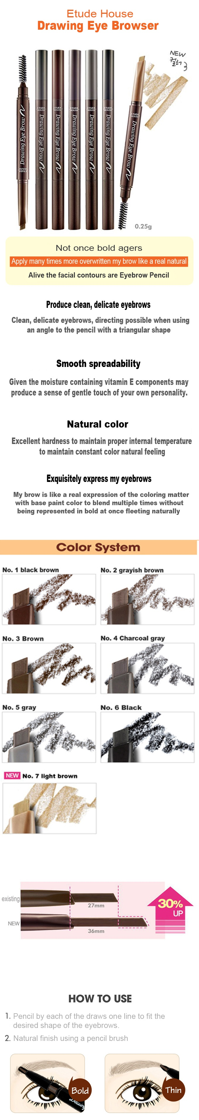 Etuse House 2016 New Drawing Eye Brow 025g 30 Up 3 Brown Eyebrow Specifications Of Intl
