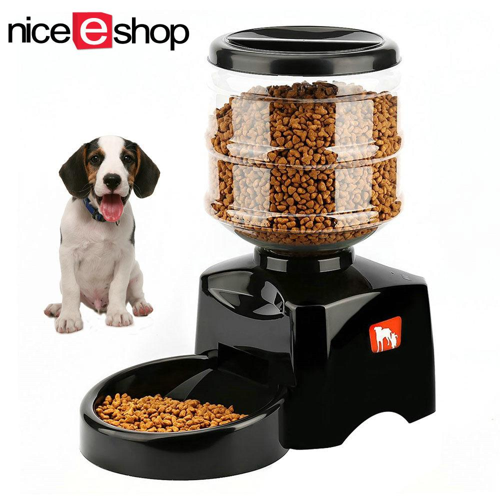 Niceeshop New 5 5L Automatic Pet Feeder With Voice Message Recording And Lcd Screen Large Smart Dogs Cats Food Bowl Dispenser Black Intl Sale