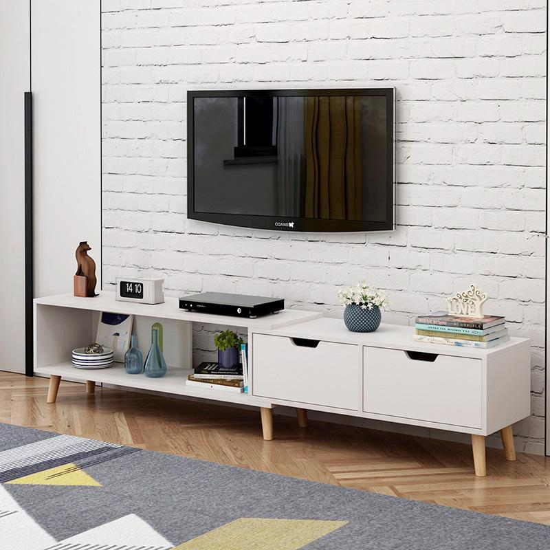White Simple Modern Length Adjustable TV Console