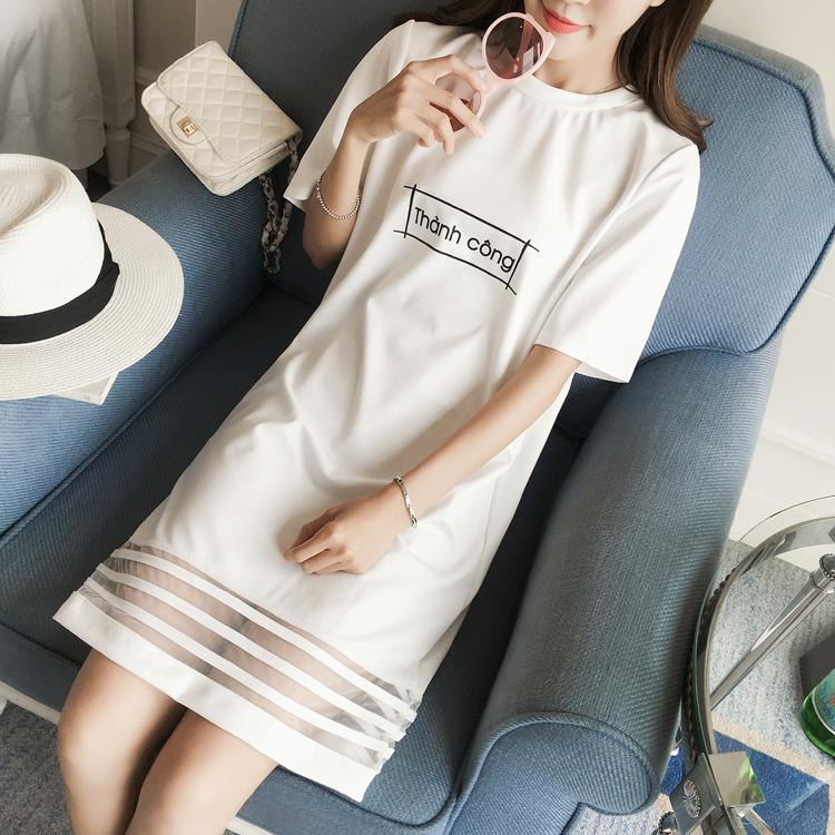 Compare Price Korean Style Cotton Mid Length Short Sleeved T Shirt Dress Base Shirt On China