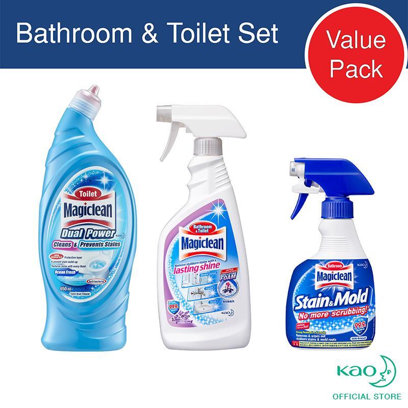 Low Price Magiclean 3 Step Bathroom Toilet Cleaner 1 Stain Mold Trigger 1 Bathroom Toilet Trigger 1 Toilet Dual Power Ocean