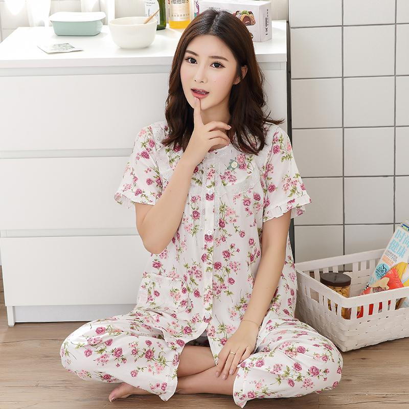 Pure Cotton Pajamas women Summer Short Sleeve Set Thin Cotton Short Sleeve  Trousers Two-Piece d96a835e7