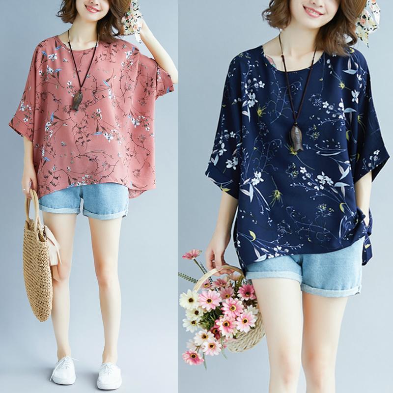 2090fd5614e3 Summer New Style a Loose Plus-sized Bat Sleeve Chiffon Shirt 200 Jin Korean  Style