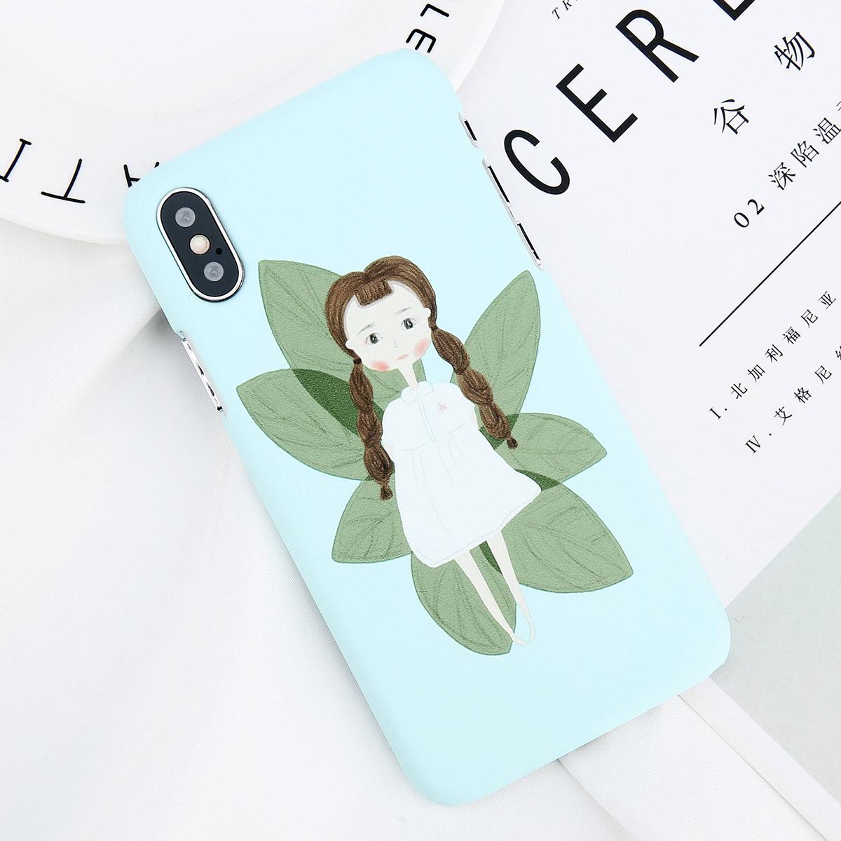 USLION Kartun Gadis Kecil Cetak Telepon Kasus Untuk iPhone 7 Ditambah Keras PC Kasus Untuk iPhone X 8 7 6 6 S Ditambah Surat Kembali Penutup Coque Jet Hitam
