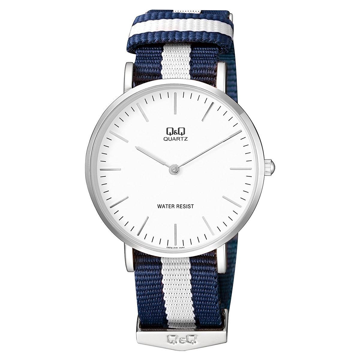 Price Q Q Watch Multicolored Stainless Steel Case Cloth Strap Mens Q974J331Y Q Q