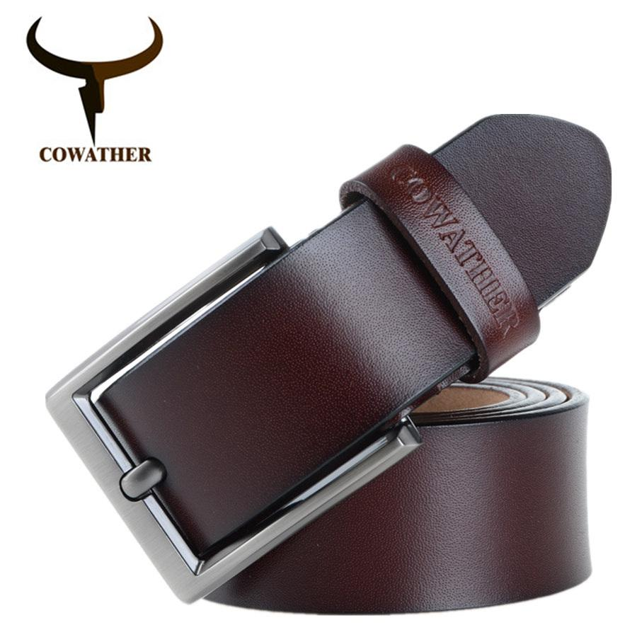 Sale Cowather Men S Dress Belt 100 Cow Leather Reversible Belts For Men With Pin Buckle Strap Waistband Belts For Men Trims To Cut Cowather