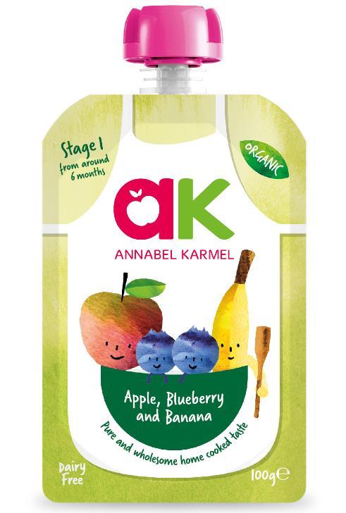 [bundle Deal] Annabel Karmel Stage 1 Organic Apple , Blueberry & Banana (6 Packs) By Posh Baby Shop.