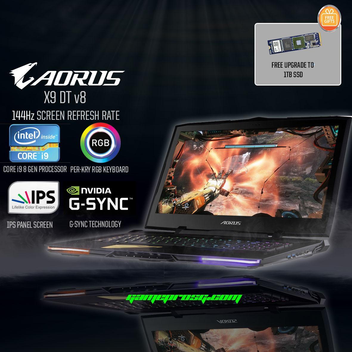AORUS X9 DT v8 144Hz (i9-8th Gen GTX 1080 8GB GDDR5X) 17.3 Gaming Laptop