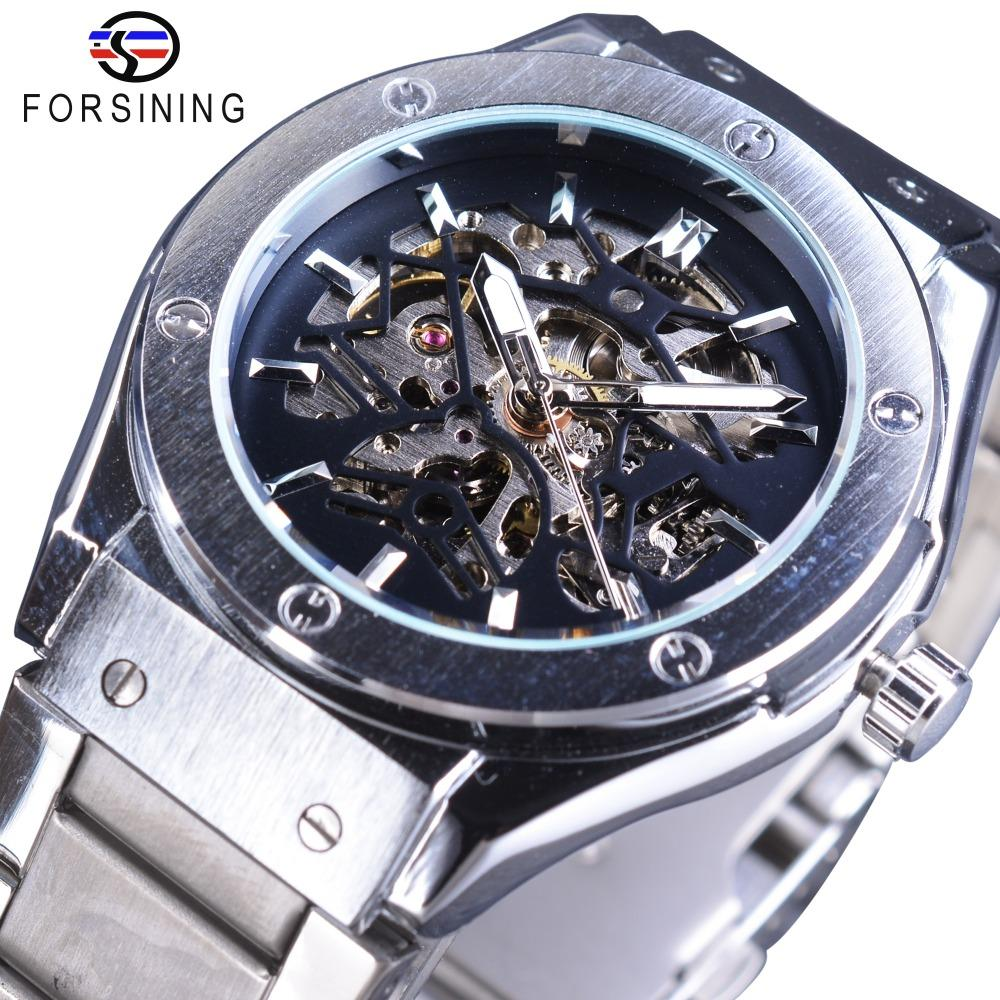 Forsining GMT1065-3 Steampunk Design High Quality Silver Stainless Steel Men Skeleton Watches Top Brand Luxury Automatic Sport Wristwatch Malaysia