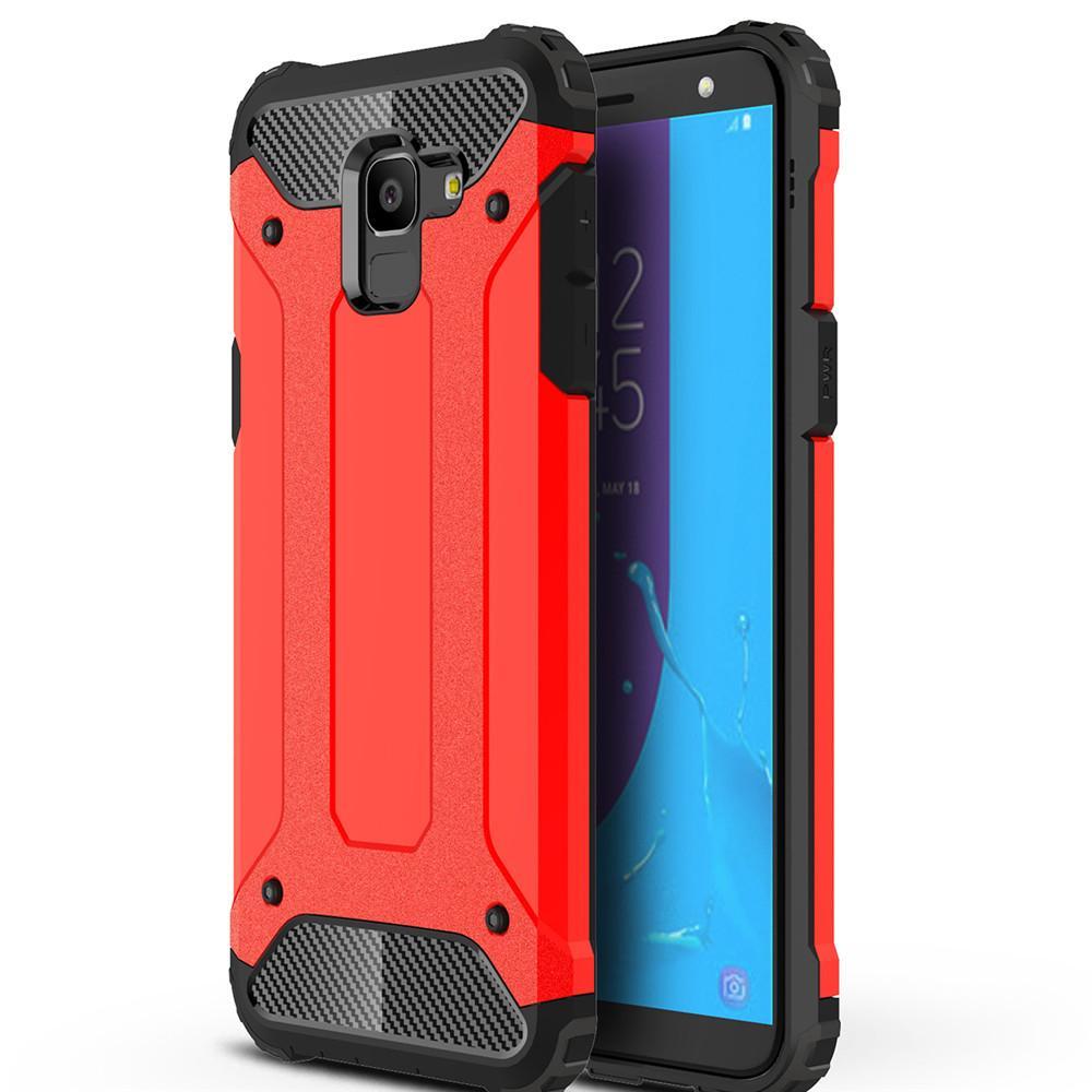 Lenuo untuk Samsung Galaxy J6 Casing Hibrid Armor TPU Kasar + Plastik Keras Anti-Knock Shockproof P