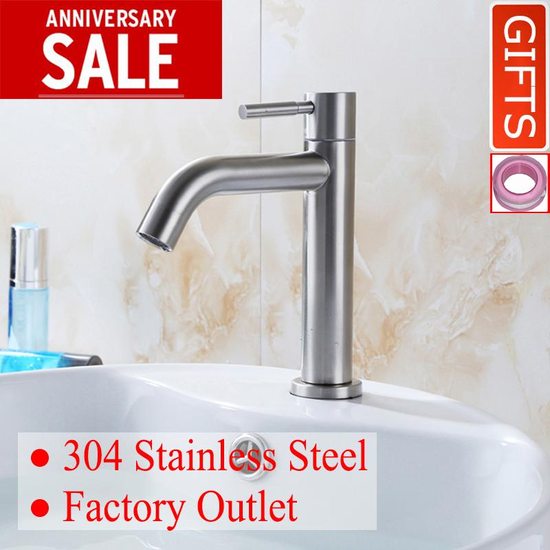 Buy Doboht Stainless Steel Flexible Bathroom Sink Basin Single Lever Cold Tap Basin Faucet Nickle Intl Doboht