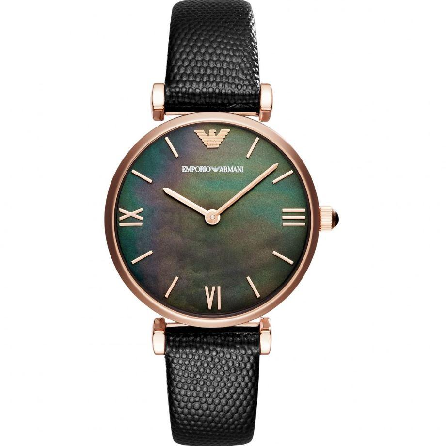7bb59057733 Emporio Armani Gianni T-Bar Ladies Black Leather Black 32mm Dial Watch  AR11060