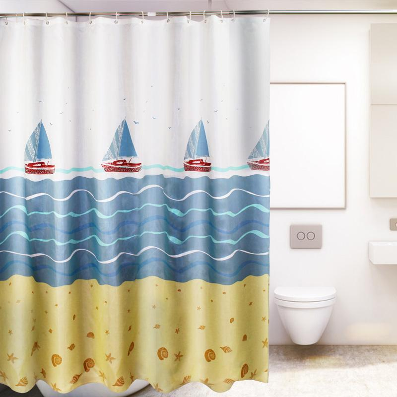 Price Comparisons Cartoon Sailing Thick Waterproof Polyester Fabrics Shower Curtain Cloth