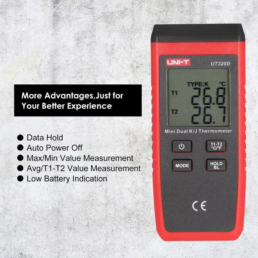 Osman UNI-T K/J Jenis Dual-CH Termokopel Digital Suhu Termometer 0