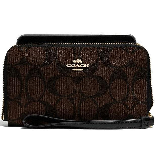 Coach Phone Wallet In Signature Coated Canvas Wristlet Gold / Brown / Black # F57468 + Gift Receipt