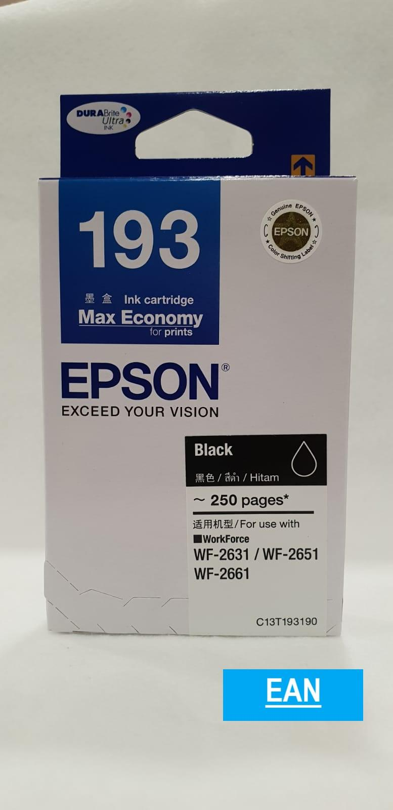 Buy Sell Cheapest Epson T6641 Black Best Quality Product Deals Tinta Printer Hitam T193 Ink Cartridge For Wf 2631 Wf2651 Wf2661 C13t193190 193 T1931 T193190