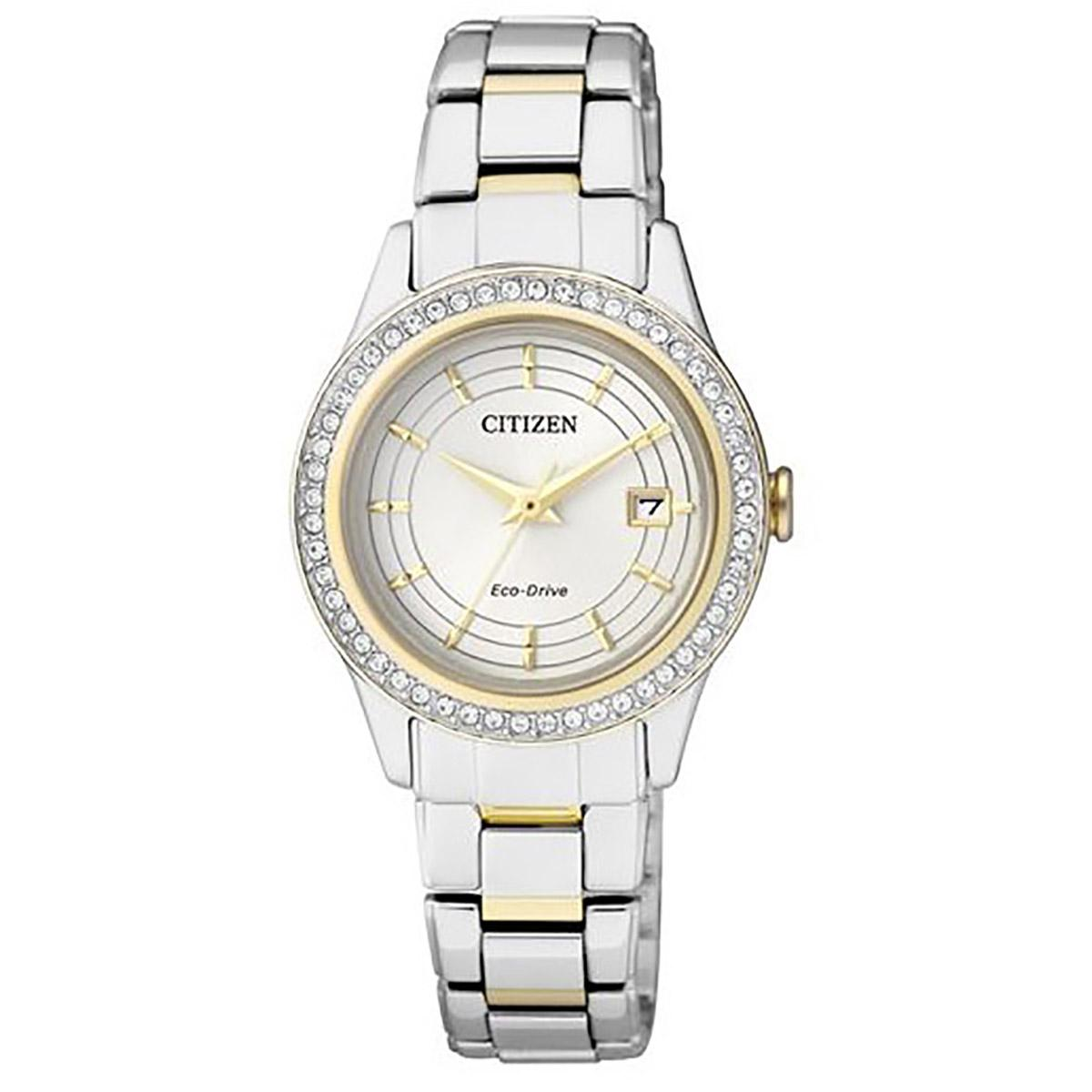 Citizen Citizen Eco Drive Multicolored Stainless Steel Case Two Tone Stainless Steel Bracelet Ladies Fe1124 82A Lowest Price