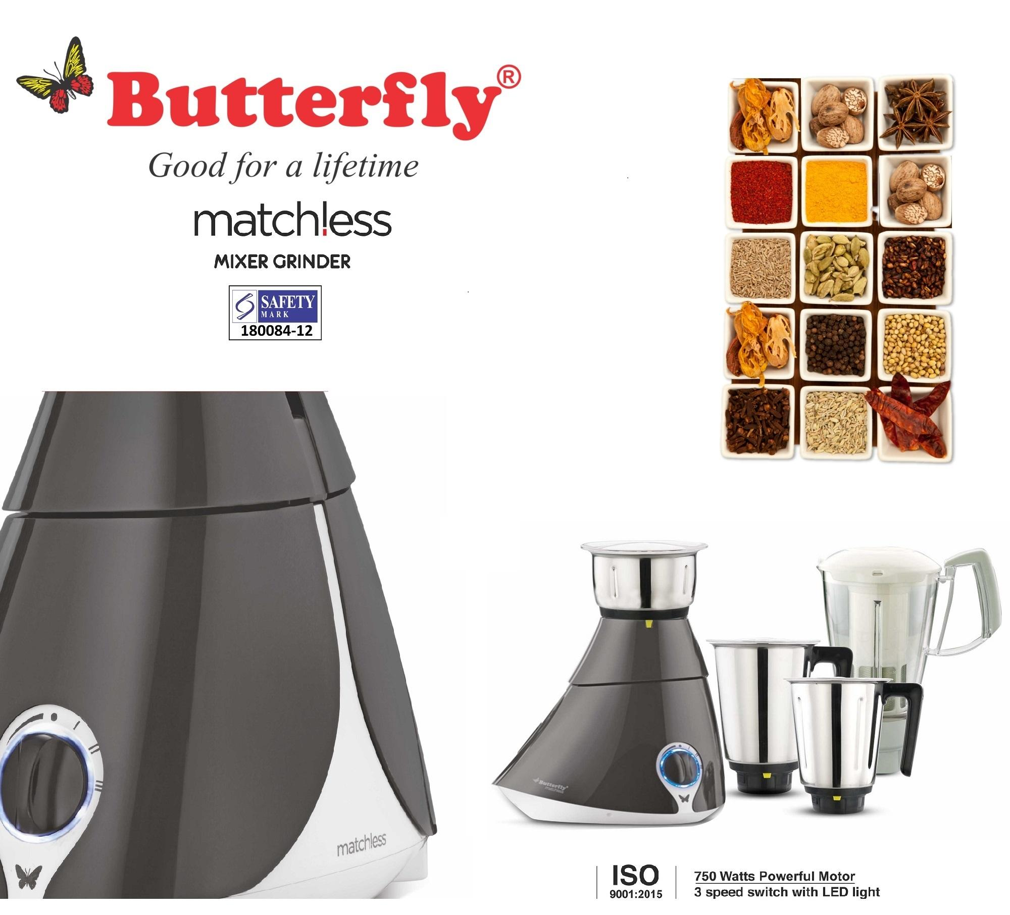 Best Deal Butterfly Matchless 750 Watt Mixer Grinder With 4 Jars Free Home Service 2 Year Warranty