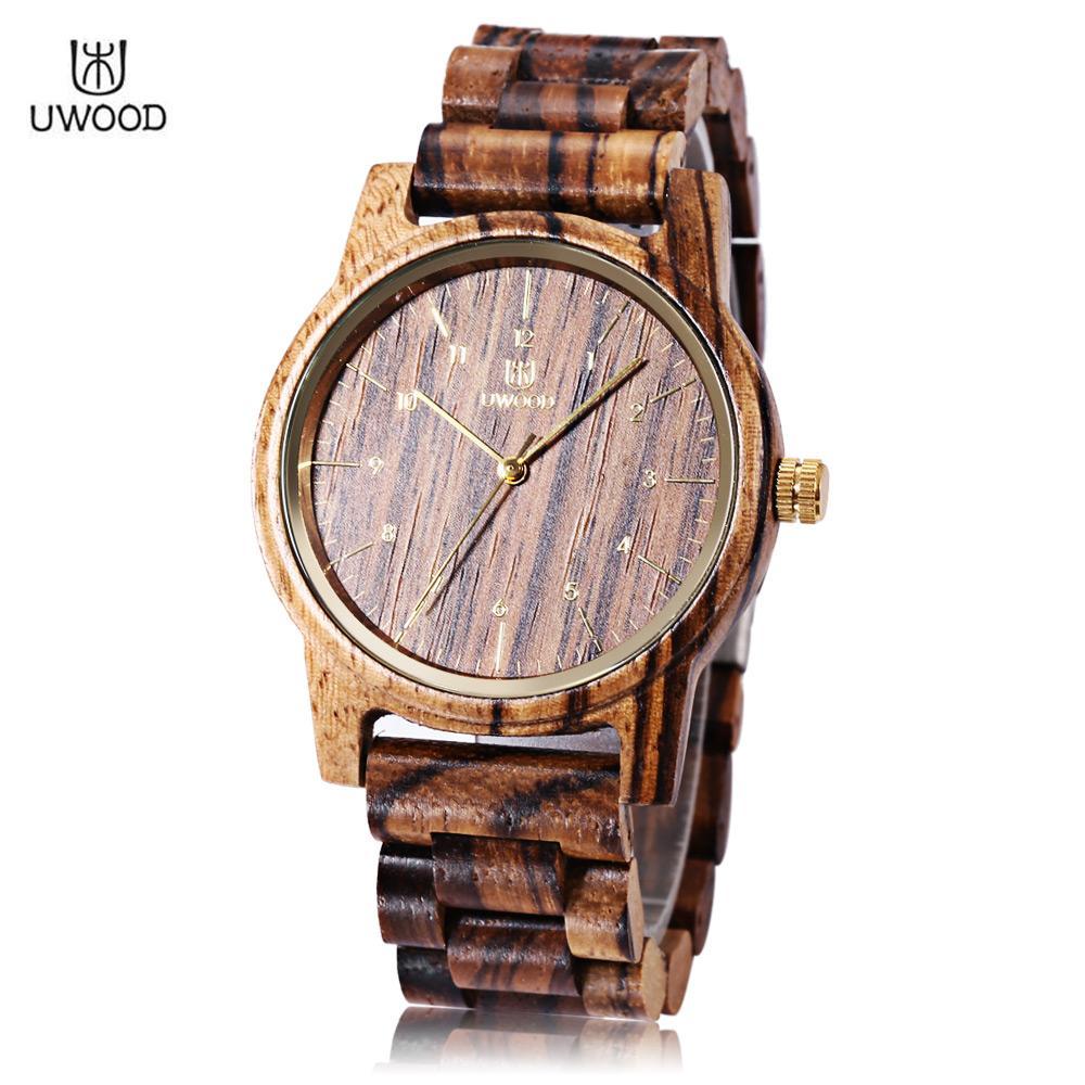 UWOOD UWOOD UW - 1007 Men Quartz Watch Wooden Case Arabic Numerals Scale Water Resistance Wristwatch
