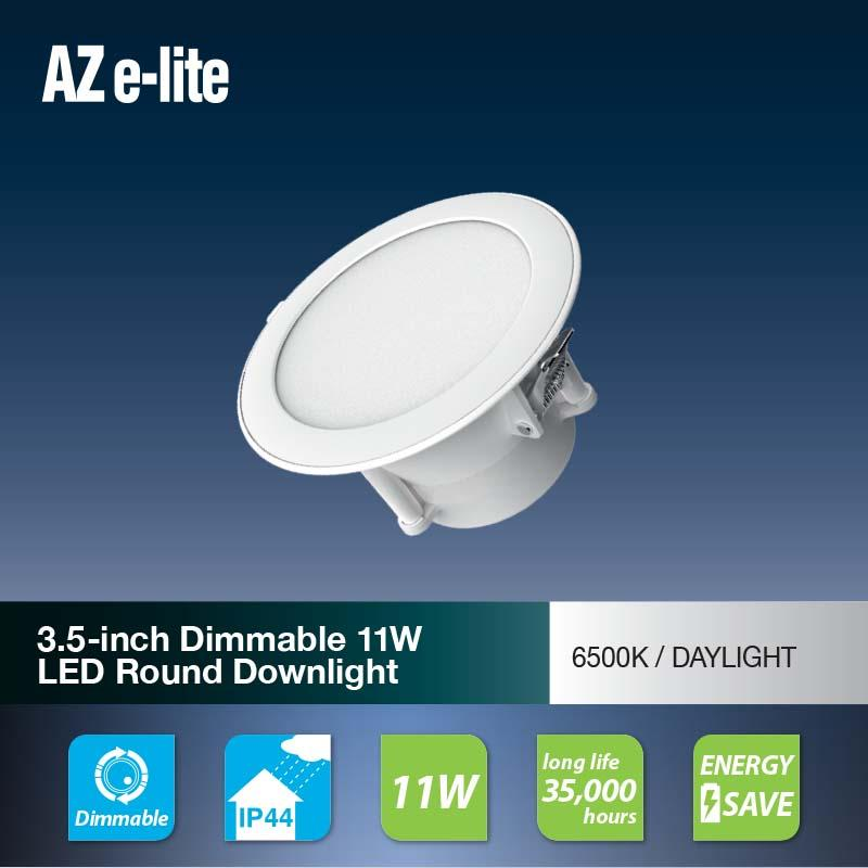 AZSENCE 3.5-inch dimmable LED 11W Round Downlight (LDR3H12) Daylight