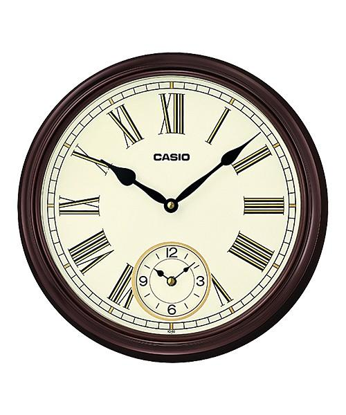 CASIO BROWN RESIN DUAL TIME WALL CLOCK IQ-65-5 (Wood tone frame and Roman numeral hour markers create a classical look that suits just about any décor.)