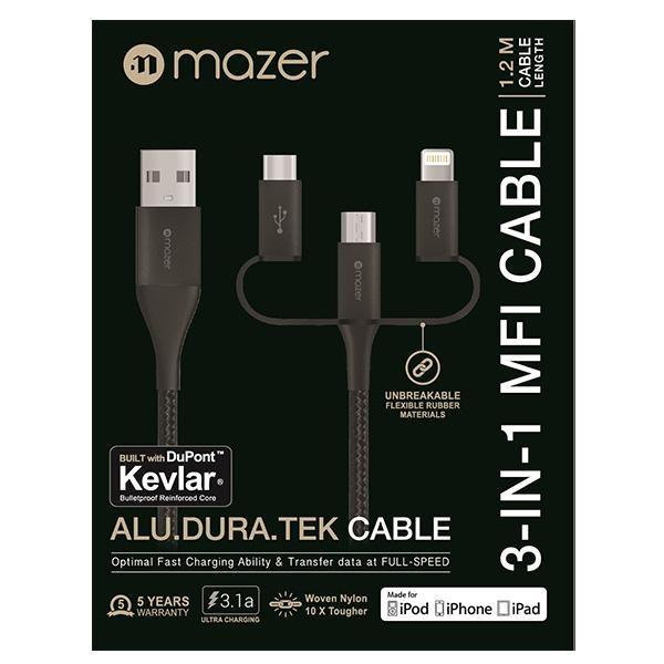 Mazer Alu Dura Tek 3 In 1 Mfi Cable 1 2M 5 Years Warranty Review
