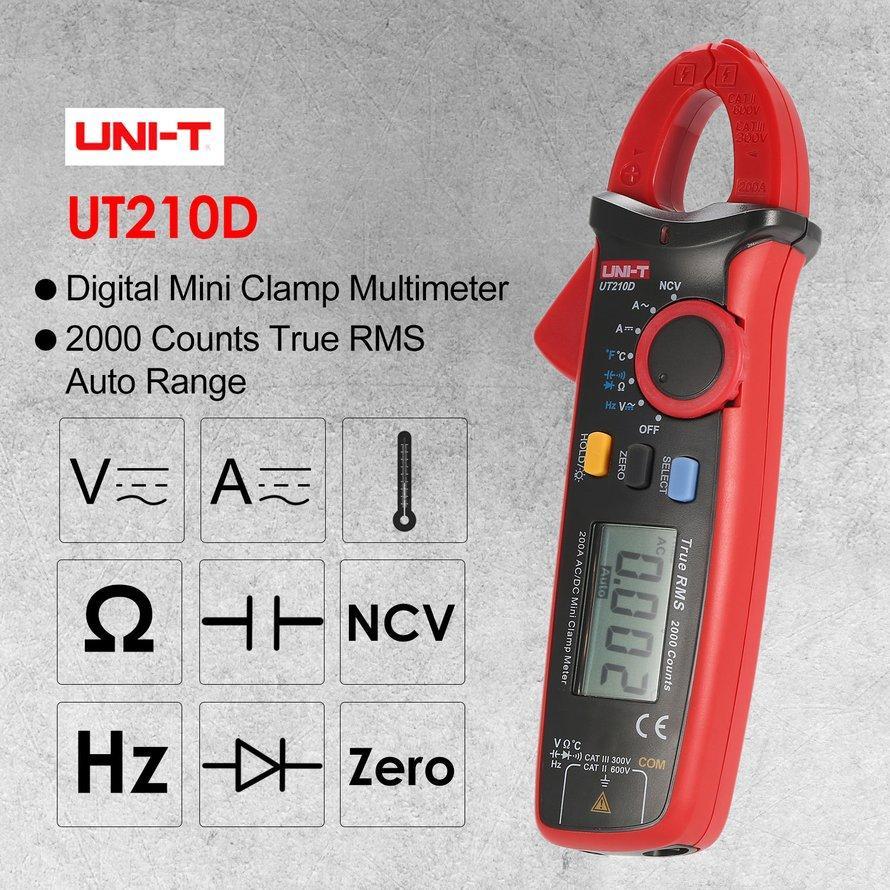Osman UNI-T UT210D Mini Digital Clamp Multimeter Asli RMS Auto Range DC/AC