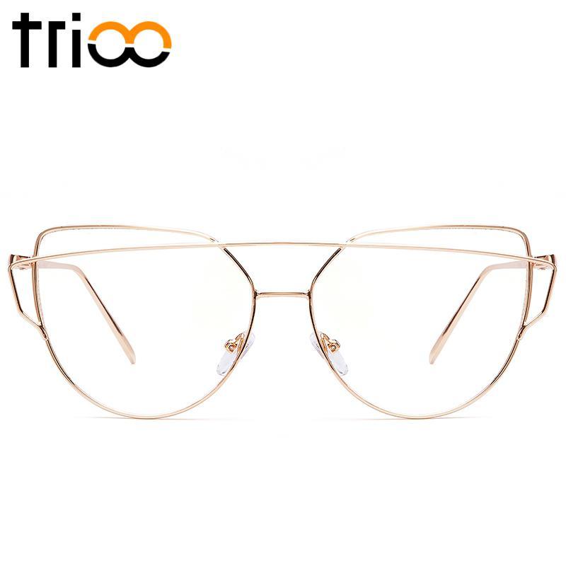 TRIOO โลหะสีชมพูกรอบแว่นตาผู้หญิงแมวตาแฟชั่นออกแบบแว่นตาแว่นตาใสแว่นสายตาแว่นสายตาผู้หญิงกุหลาบ