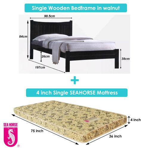 A-star Single Wooden Bed frame + Seahorse Mattress Package