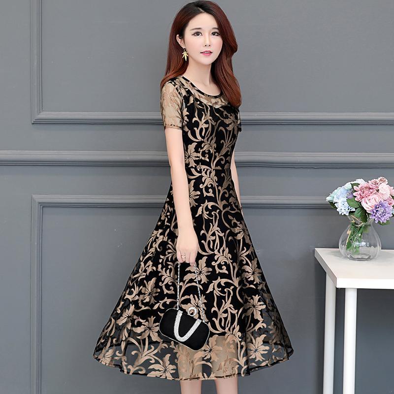 Mahal Elegan Wanita Cetakan Pakaian Baju Wanita Musim Panas Model Baru Setangah Baya Busana Ibu Pesta Setengah Panjang Gaun