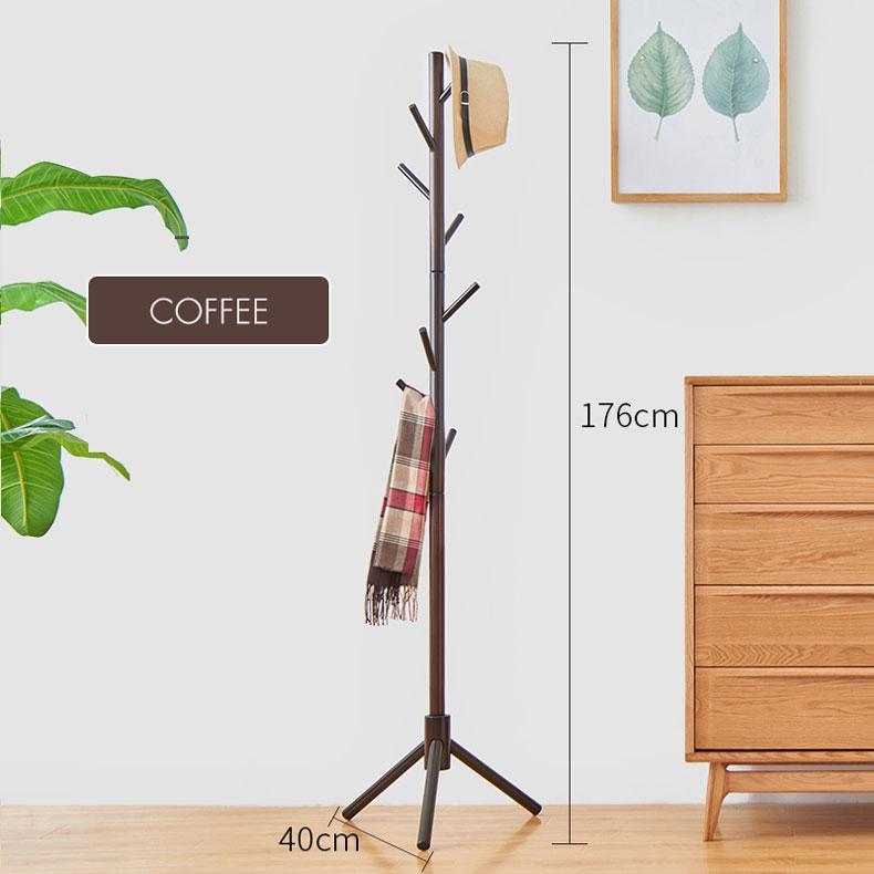 Floor Stand Hat Coat Hanger Bedroom Hall Entry Umbrella Clothes Rack Round Smooth Dark Coffee
