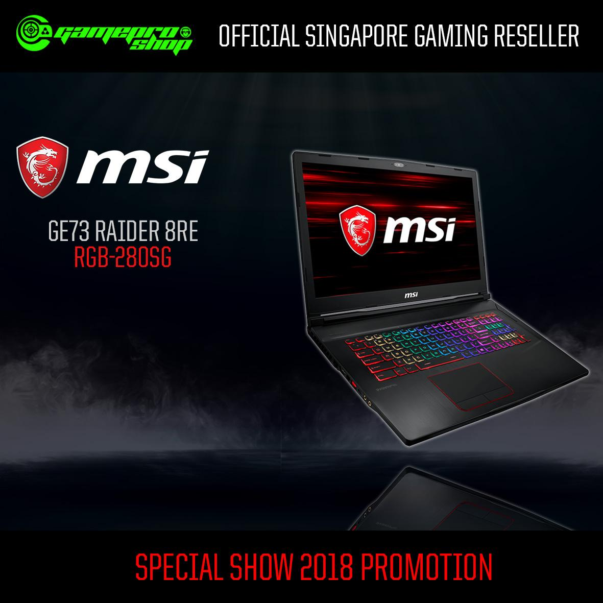 MSI GE73 Raider 8RE RGB-280SG (I7-8750H/16GB DDR4/256GB SSD+1TB HDD 7200RPM/6GB NVIDIA GTX1060 GDDR5/17.3FHD 120Hz/W10)