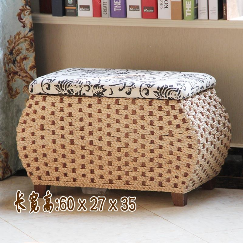 Hand-Woven Straw Storage Stool Bench