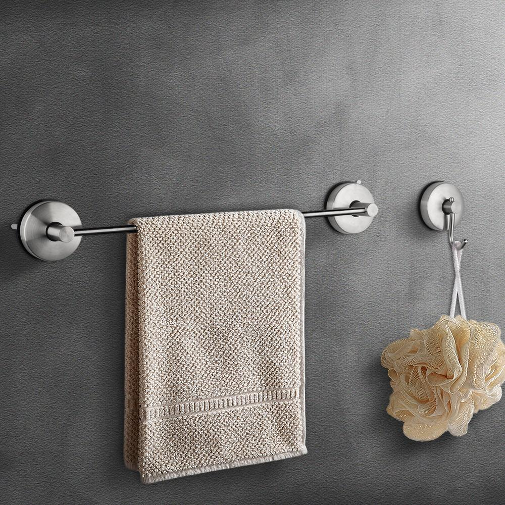 Lowest Price Jomola Vacuum Suction Cup Set Of Single Towel Robe Clothes Hook Towel Bar For Bathroom Kitchen Sus 304 Stainless Steel Brushed Finish