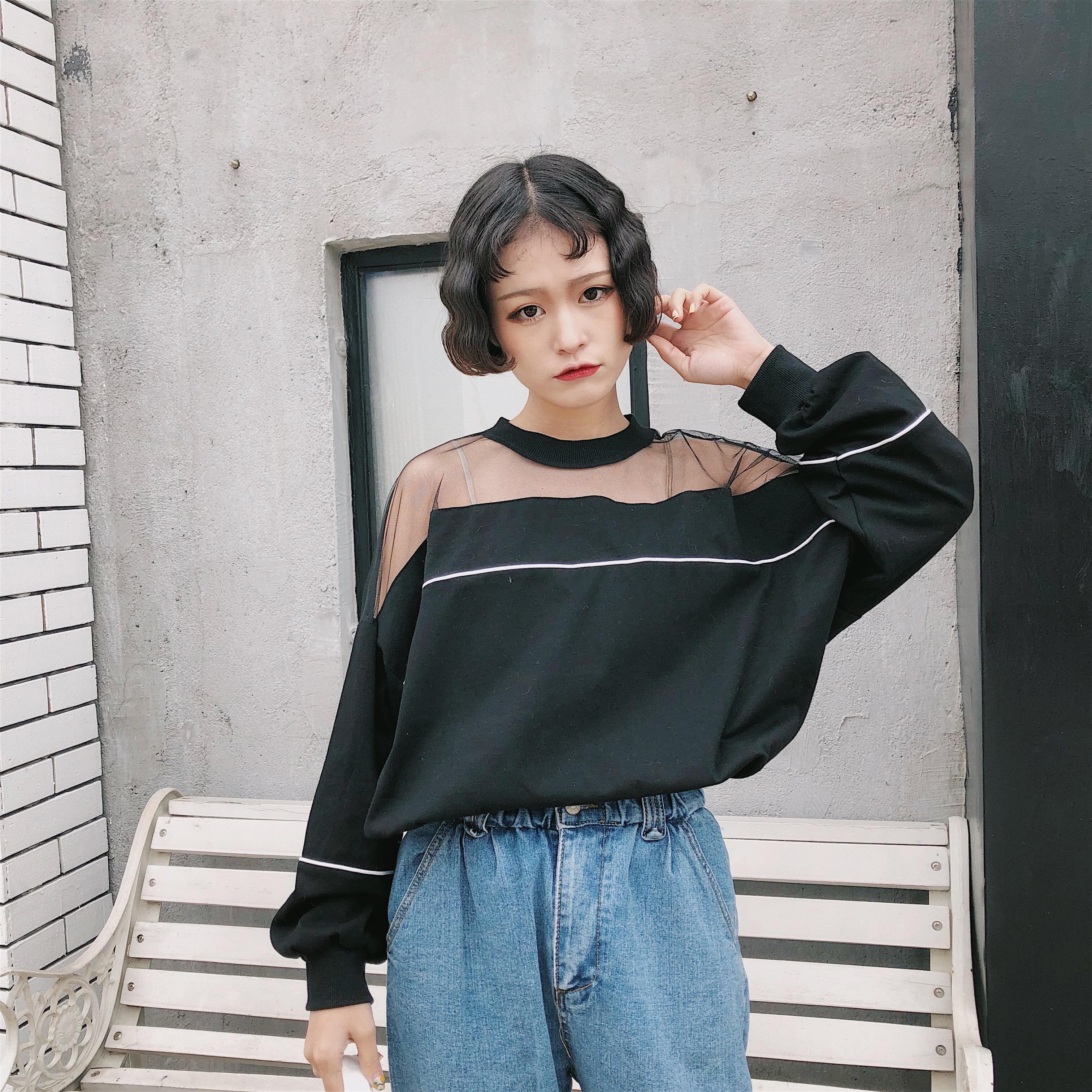 Ulzzang Kaos Korea Fashion Style Kasa Musim Semi dan Musim Panas Lengan Panjang
