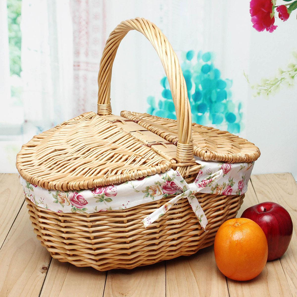 Review Travel Wicker Hand Picnic Storage Basket Shopping Hamper With Lid And Handle New Oem On China