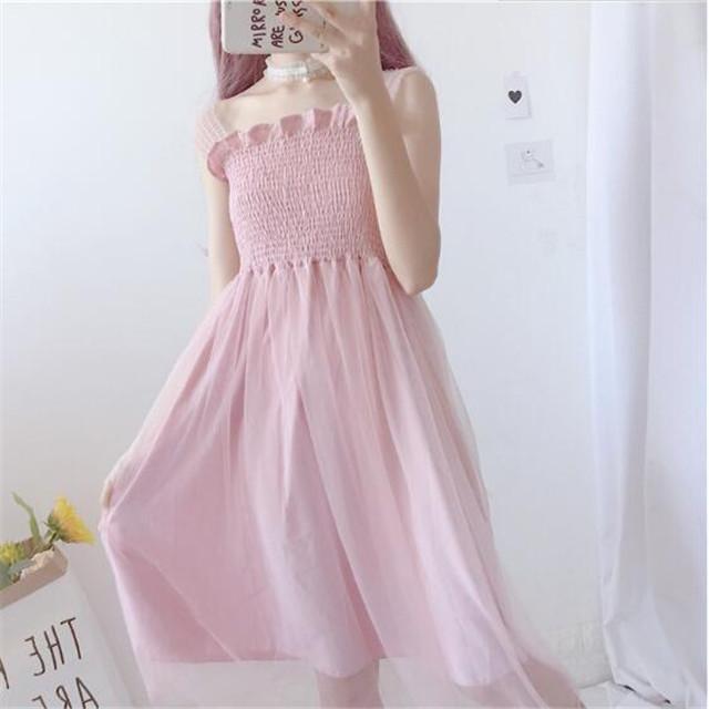 Sepotong rok merah muda Musim panas wanita baru versi Korea dari adik  lembut manis f6fb6836d8
