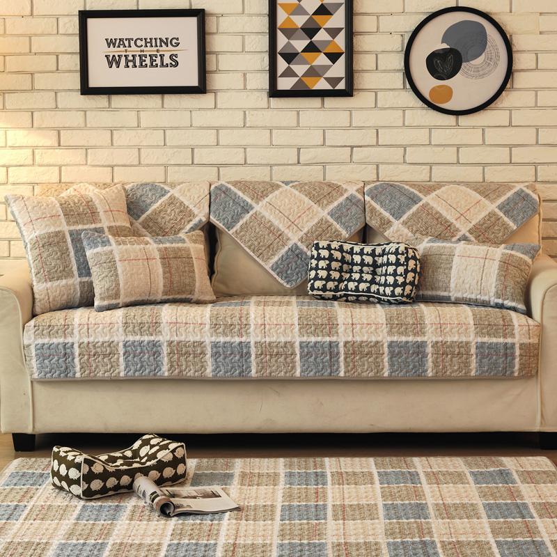 Nordik katun Kain Anti Selip bantal sofa modern minimalis kulit penutup sofa Bungkus Penuh universal set ruang tamu kain alas sofa Penutup - 4