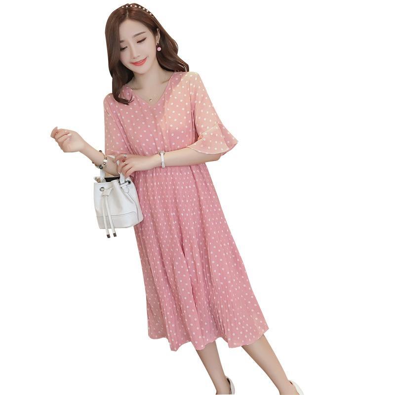 Baru Pakaian Ibu Hamil Di Panjang Lengan Pendek Gaun Sifon Rok Hamil Musim Panas Perempuan-