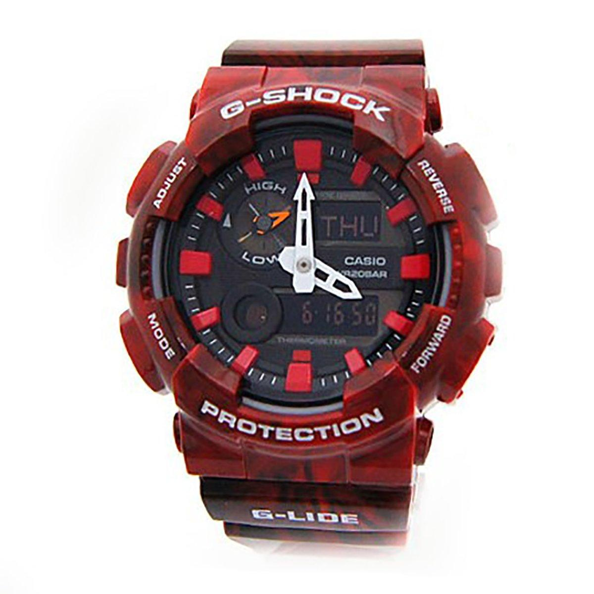 Casio Watch G Shock G Lide Red Resin Case Resin Strap Mens Gax 100Mb 4A Price