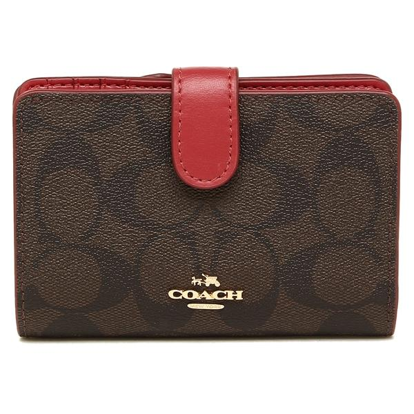 Coach Medium Corner Zip Wallet In Signature Coated Canvas Brown / True Red # F23553 + Gift Receipt