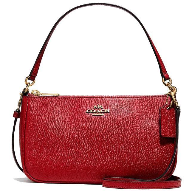 d1ab0a03c4 Coach Messico Top Handle Pouch Crossbody Bag Handbag Light Gold   True Red    F25591 +