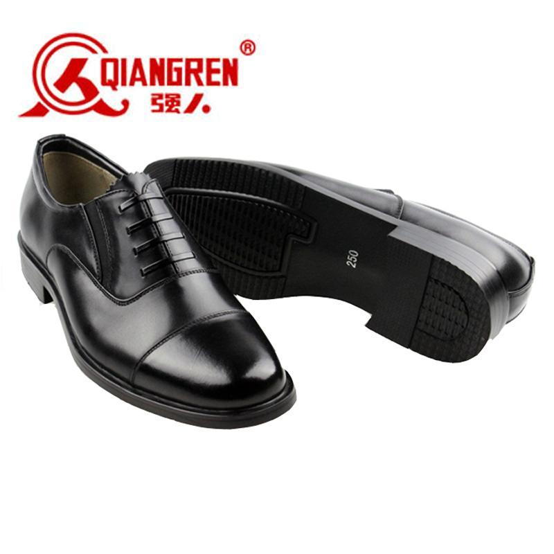 QIANGREN 3515 Produk Asli Sepatu tentara tiga konektor bintara Kapten Sepatu Kulit musim gugur pakaian formal bisnis Kulit asli tali sepatu cara buat Sepatu