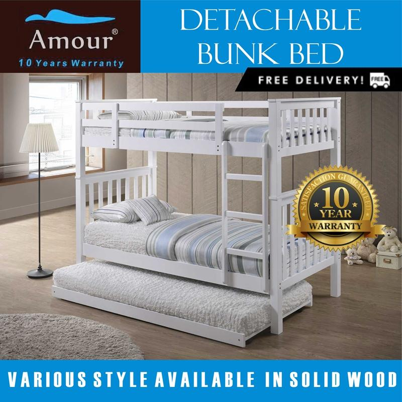 Amour Detachable Single Size Bunk Bed With Pull Out Bed 10 Years Warranty Best In Lazada Sale