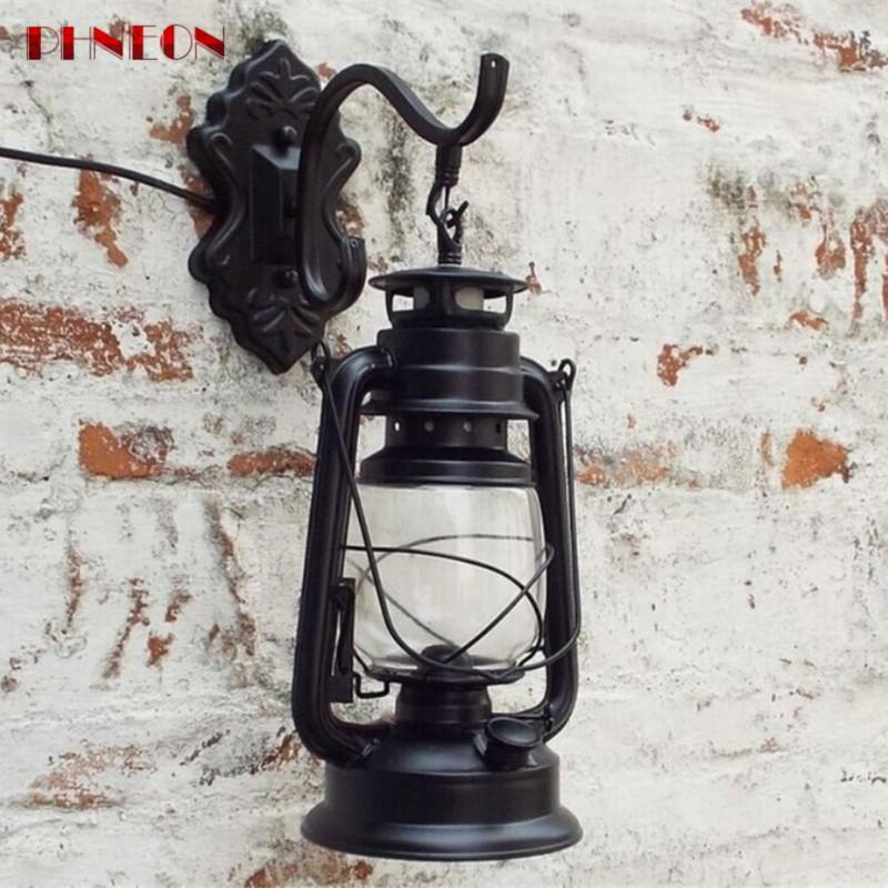 PHNEON Transctego Retro Wall Lamp Vintage Glass European Kerosene Lamps Beside Light For Bar Coffee Shop Bathroom Home Led Lights