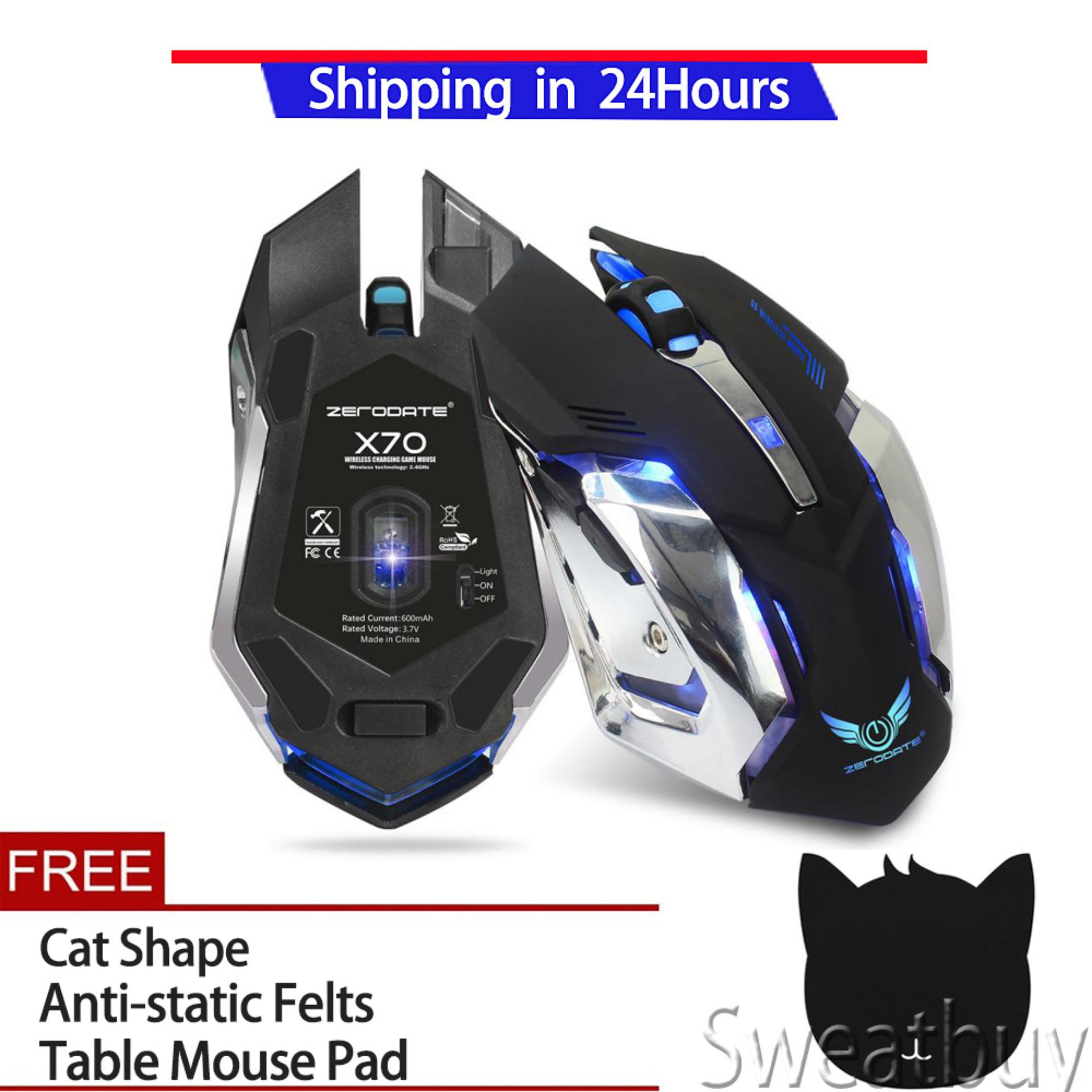[Buy 1 Get 1 Free Gift]2.4G Wireless Rechargeable Gaming Optical Mouse For PC Computer Black - intl