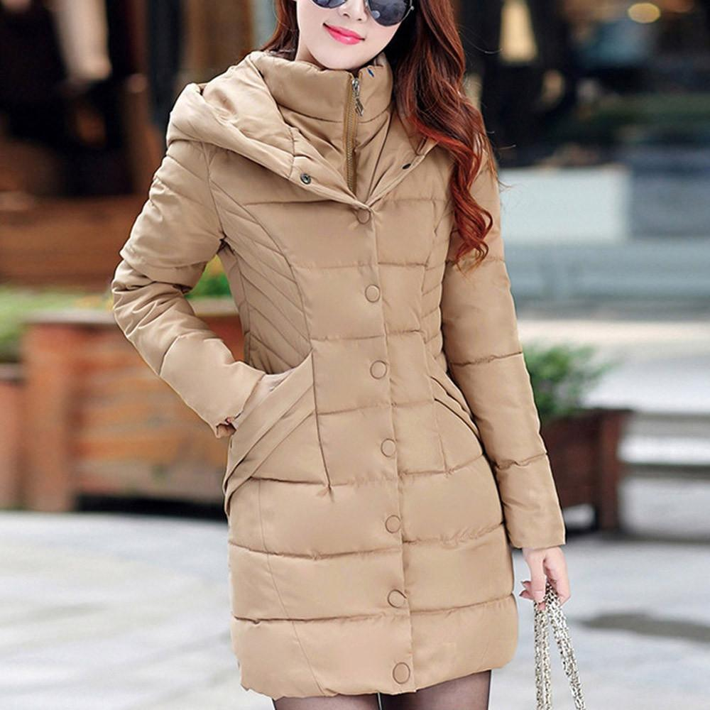 7fe9d7bf083 Aynshop Women Hooded Parka Outwear Lady Warm Coat Long Thick Cotton Padded Slim  Jacket