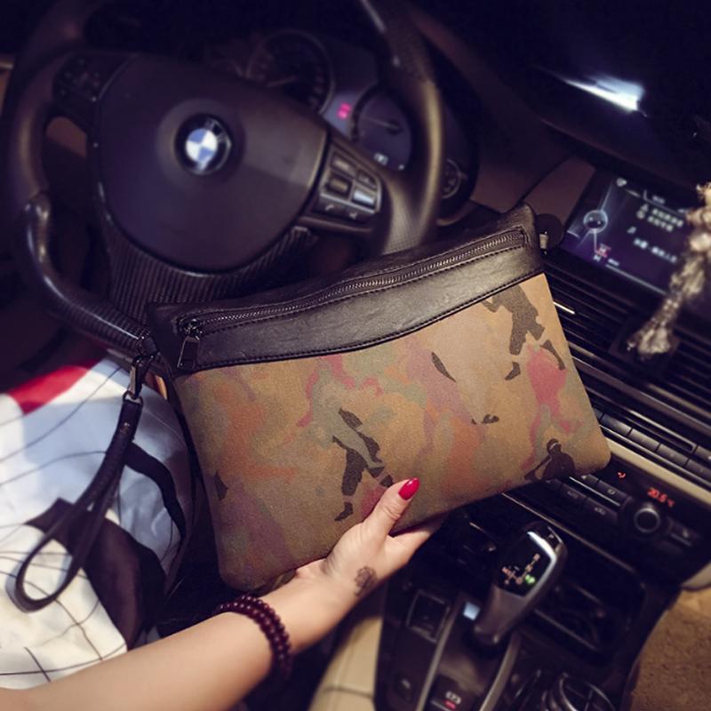 MEN Leather Canvas Purse Wallet Pouch Clutch Sling Bag Business Handbag 289 MI2891