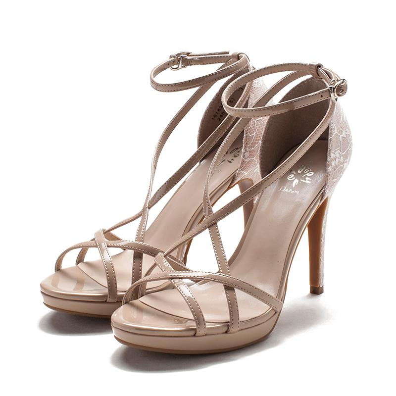 Review Daphne Spring Summer Lace Cross Strap Straight Line Buckle High Heel Sandals Oem On China